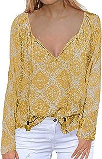 LOMON Women's V Neck Boho Tops Floral Print Shirts Casual Loose Blouse