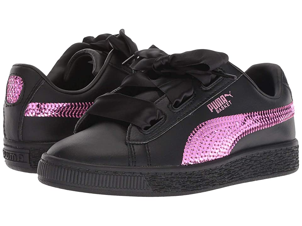 Puma Kids Basket Heart Bling PS (Little Kid) (Puma Black/Orchid) Girl
