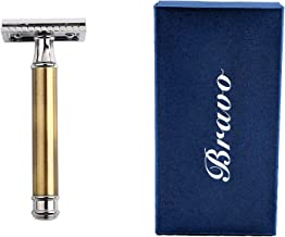 Bravo Classic Men's Safety Shaver Brushed Brass Handle Double Edge Razor + ASTRA Blades