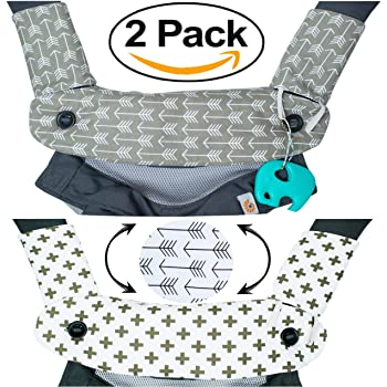 Premium 2 Packs Drool and Teething Reversible Cotton Pad | Fits Ergobaby Four Position 360 and Most Baby Carrier | Gray Arrow Cross Design | Hypoallergenic | Great Baby Shower Gift by Mila Millie