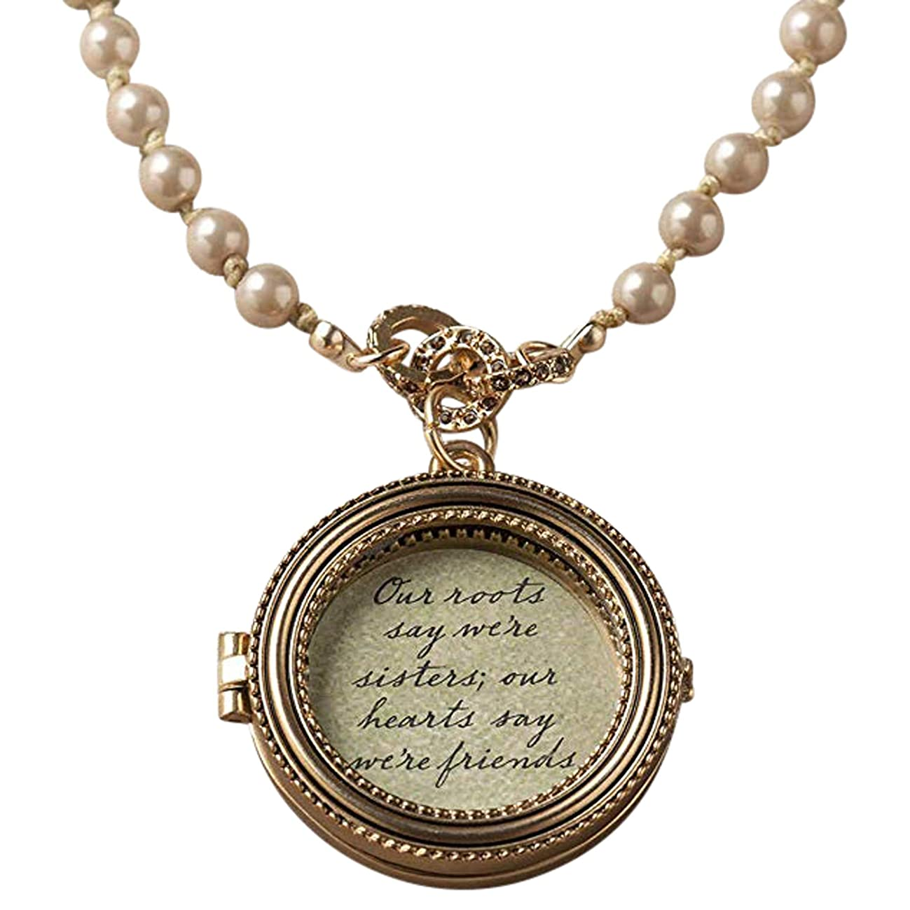 DEMDACO Sisters Hearts Friends Round Faux Pearl Beaded Women's One Size Zinc Alloy Locket Necklace