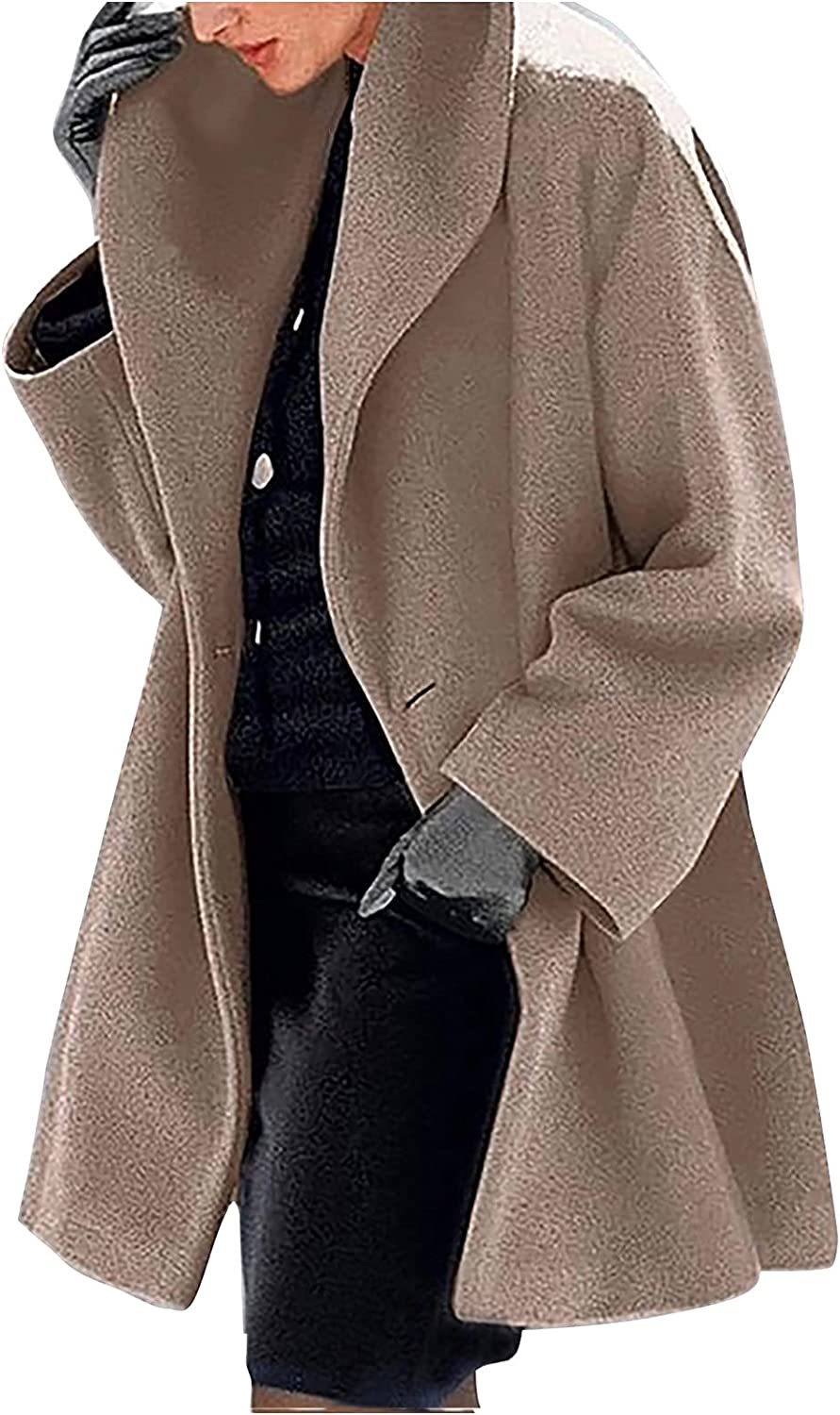 Womens Basic Winter Jacket Coat Warm Slim Trench Ladies Loose Lapel Button Up Wool Blend Mid-Long Overcoat Outwear