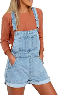 WUAI-Women Classic Relaxed Fit Denim Bib Overalls Floral Printed Baggy Loose Rompers Jumpsuit