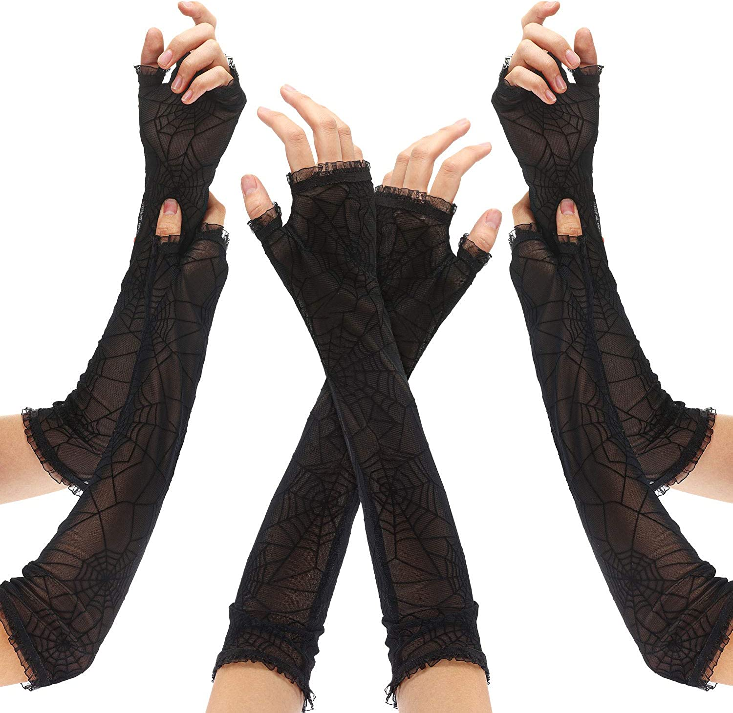 3 Pairs Spider Web Arm Warmers Women Spiderweb Fingerless Long Arm Warmer for Halloween Cosplay Party, Black