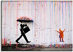 DVQ ART-Colorful Rain Prints Paintings Modern Canvas Wall Art with Frames for Living Room Decor 24x36inch(60x90cm) Red B10...