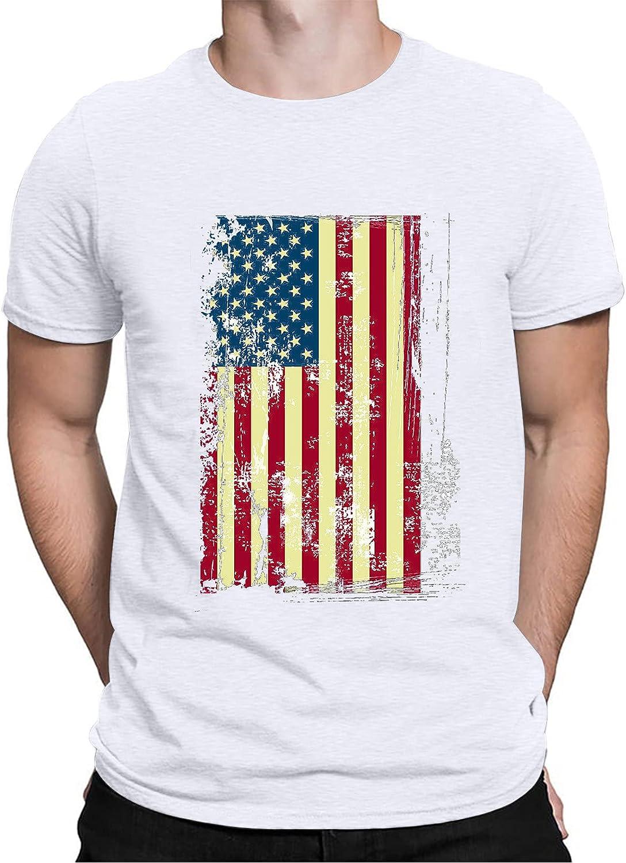 FUNEY Fashion Mens 3D Digital Printed Design Pattern T-Shirts 4th of July Short Sleeve American Flag Distressed T-Shirt