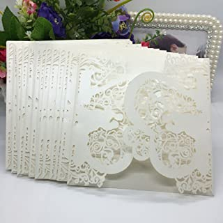 Anself 20Pcs Lace Wedding Party Invitation Card for Bridal Shower Birthday, Heart Pattern Pattern 1 Beige
