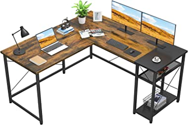 Foxemart L-Shaped Computer Desk, Industrial Corner Desk Writing Study Table with Storage Shelves, Space-Saving, Large Gaming