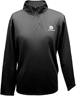 John Deere Mens Pullover Fleece Charcoal Quarter Zip
