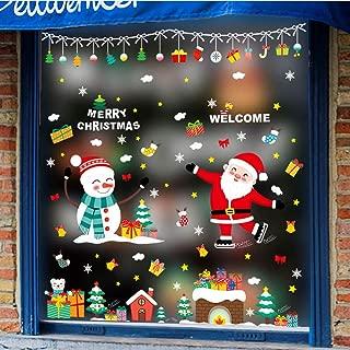 Jtayiba Christmas Window Stickers Snowman Santa Claus Wall Stickers Glass Stickers Home Decor