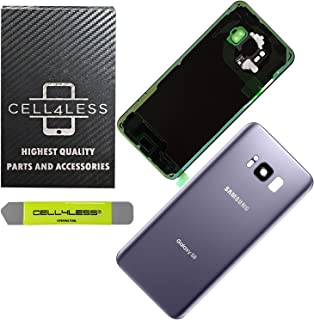 CELL4LESS Replacement Back Glass Cover Back Door w/Pre-Installed Camera Lens/Frame, Adhesive & Removal Tool Samsung Galaxy S8 - All Models G950 All Carriers (Gray)