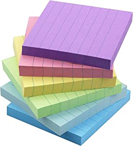 Early Buy 6 Candy Color Lined Sticky Notes Self-Stick Notes 3 in x 3 in, 100 Sheets/Pad, 6 Pads/Pack