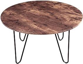 Ronde salontafel retro bijzettafel bijzettafel sofa tafel eettafel hout metalen poten voor slaapkamer woonkamer (wit)