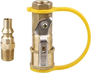 EXCELFU 1/4 Inch RV Propane Quick Connector Adapter for Propane Hose, Propane or Natural Gas 1/4 Inch Quick Connect or Disconnect Kit - Shutoff Valve & Full Flow Plug