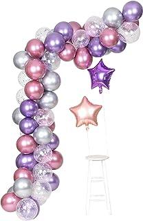Purple Metallic Chrome Pink Silver Balloons Garland Arch Kit 62 Pcs Unicorn Theme Wedding&Birthday Decoration Globos Party