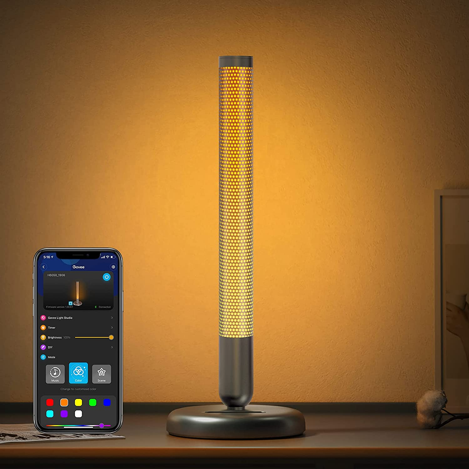 Govee Smart LED Bedside Lamp, RGBWW Dimmable Modern Lamp Works with Alexa, Google Assistant, APP and Touch Buttons Control, Atmosphere Light with 20 Scene Modes for Bedroom, Living Room