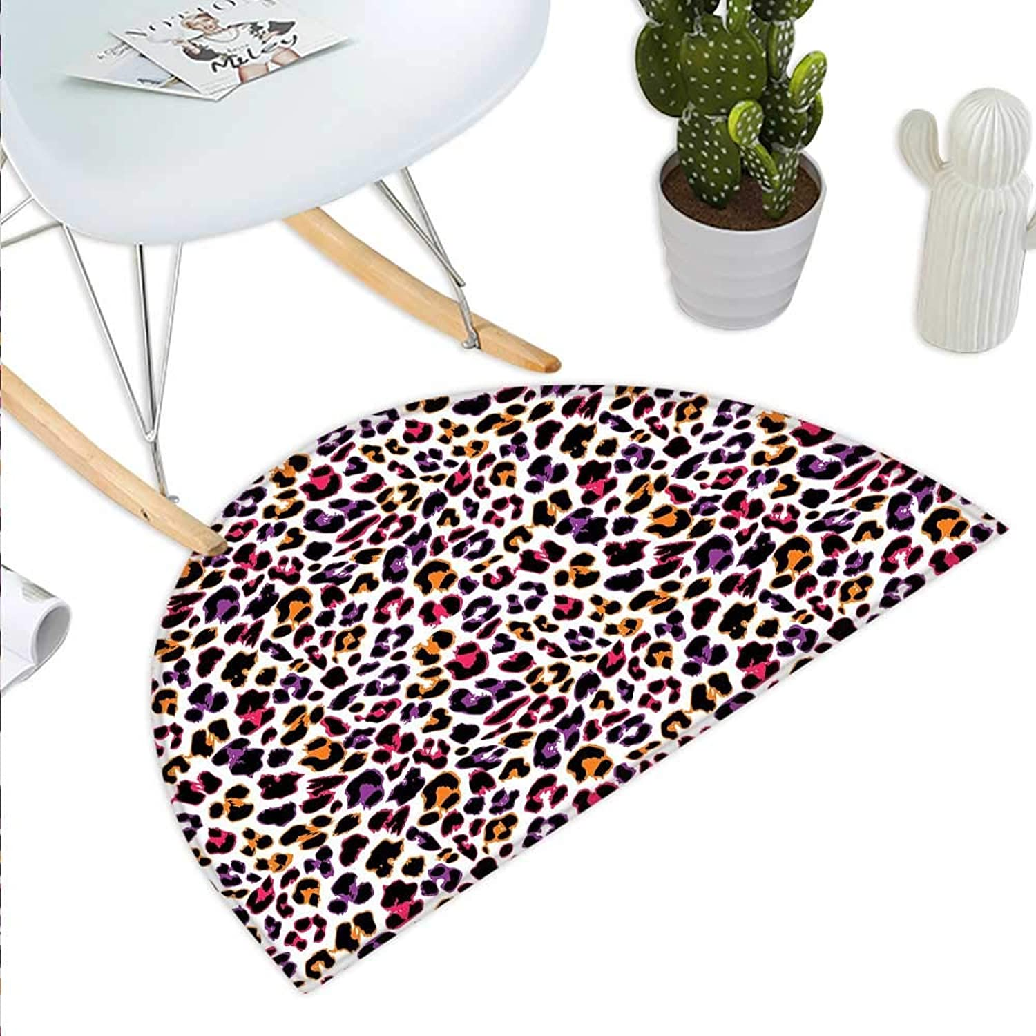 African Semicircle Doormat Leopard Skin Motif with Abstract Safari Animal Camouflage Pattern Halfmoon doormats H 39.3  xD 59  Magenta purple Marigold