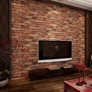 ketian moderno tridimensional papel pintado rojo ladrillo pared PVC Papel pintado 3d ladrillos con textura para salón/TV telón de fondo/de pared Hotel 0.53m X 10m=5.3m2