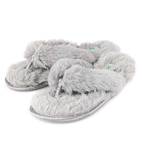 e24c2bf21 Roxoni Fuzzy House Slippers for Women – Comfortable Furry Spa Thongs – Cozy  Slip On Flip