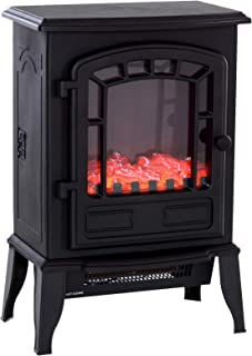 HOMCOM Freestanding Electric Fireplace Stove Space Heater Infrared Quartz LED, 9.5
