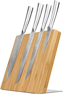 Cuchillo de bambú magnético portabloque   Soporte para cubiertos ecológico   Organización de la cocina de bambú   M&W
