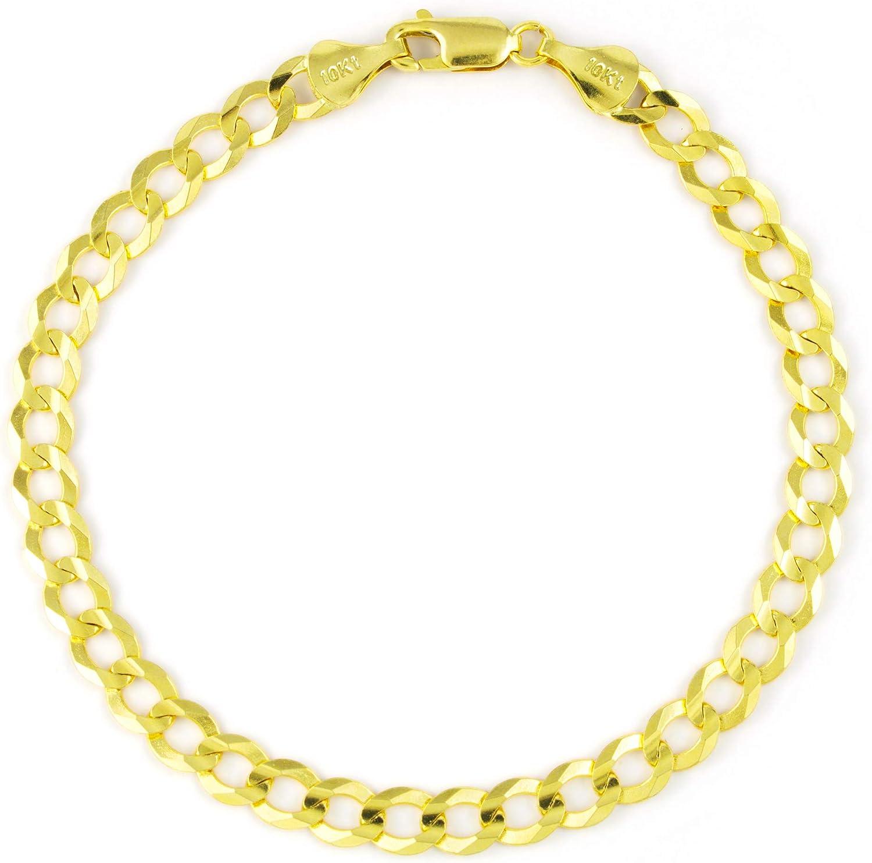 Nuragold セットアップ 予約販売品 10k Yellow Gold 7mm Cuban Chain Bracelet Link Curb Men