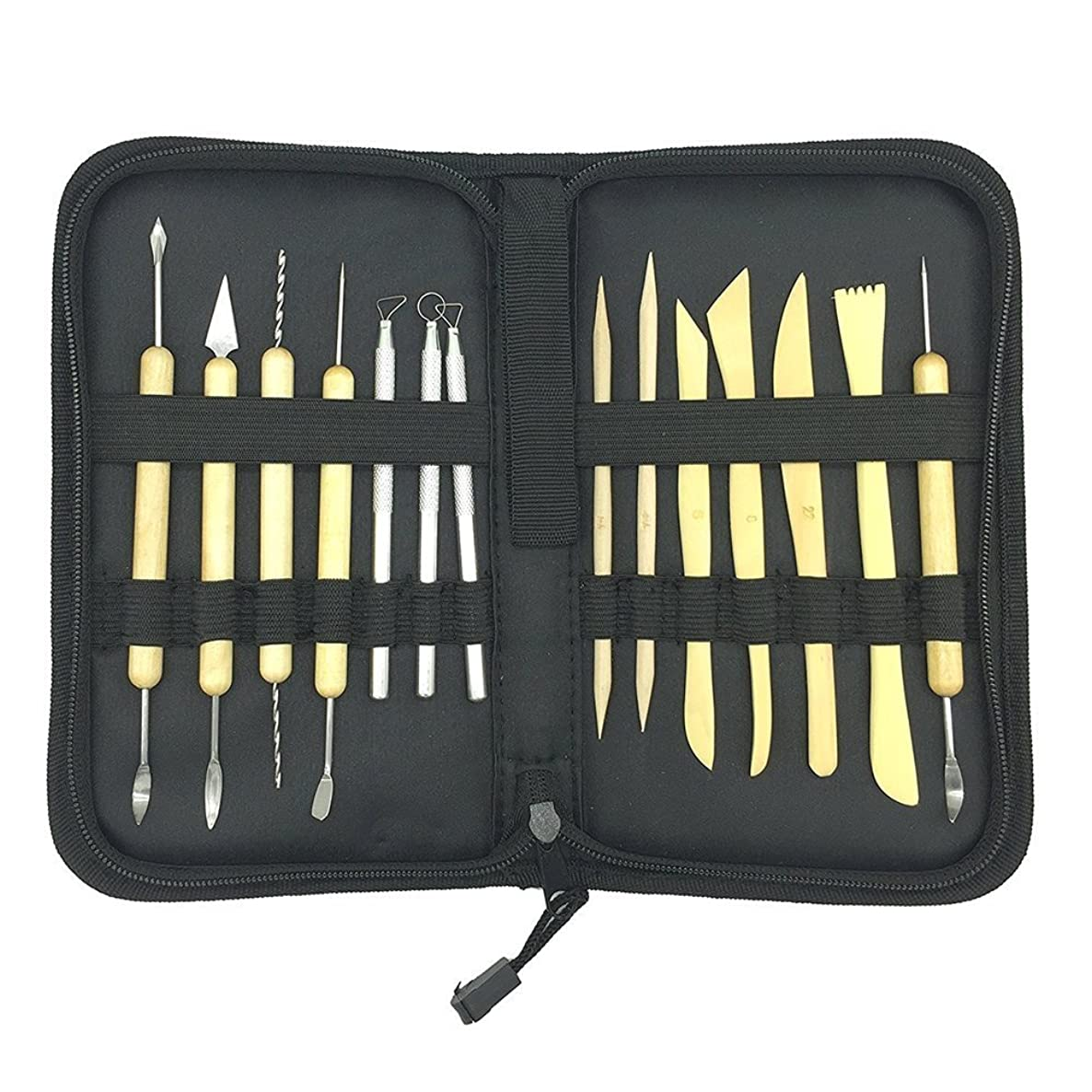PRUGNA Sculpting Tools, [14 Piece] Clay Carving Set, Contains 25 Types of Tools for Pottery Art