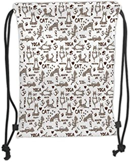 Drawstring Backpacks Bags,Yoga,Cartoon Cat Meditation Hearts Paw Prints Healthy Life Humorous Funny Pattern,Taupe Brown White Soft Satin,5 Liter Capacity,Adjustable String Closure,