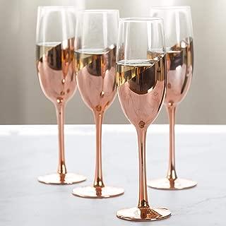 MyGift Modern Champagne Flute Glasses in Rose Gold, Set of 4