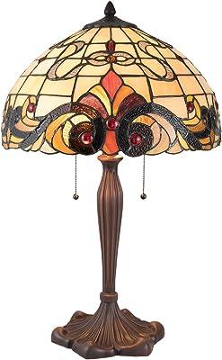 Lumilamp 5LL-5925 Lampe de table Art Deco style Tiffany Ø 40 x 61 cm / E27 / max 2 x 60 W Verre coloré décoratif style tiffany