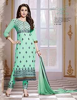 Pista Green Color Cotton A-Line suit