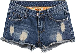 Blostirno Women's Denim Shorts Cuffed Short Jeans Pants