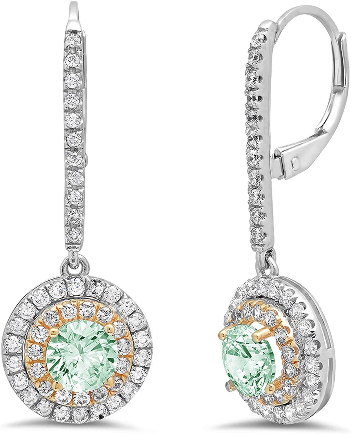 2.42ct Round Cut ideal VVS1 Conflict Free Gemstone Double Halo Solitaire Turquoise Green CZ Unisex Lever back Drop Dangle Earrings Solid 14k2 tone Gold