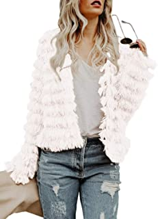GAMISOTE Womens Open Front Faux Fur Jacket Fluffy Long Sleeve Parka Coat Warm Cardigans