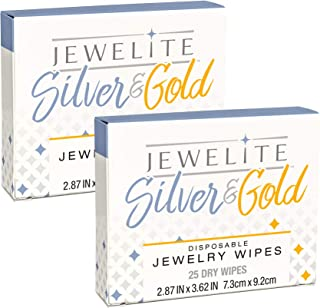2 Pack, Silver & Gold Dry Disposable Jewelry Wipes, 25Count
