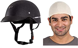 Autofy Habsolite All Purpose Safety Helmet with Strap (Black, Free Size) and Autofy Unisex Multipurpose Hair Protector Dust Pollution Skull Cap (Beige) Combo