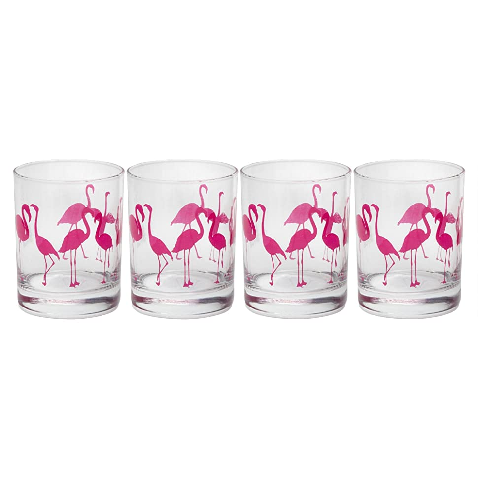 ビーチ賛辞晴れCoastal Living Seascapes Flamingos Double Old-Fashioned Glasses, Set of 4