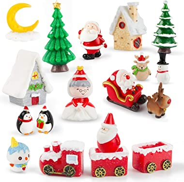 Ponwec 19pcs Christmas Miniature Ornaments Kit 3D Miniatures Figurines Mini Christmas Theme  Resin Crafts DIY Snow Globes Min