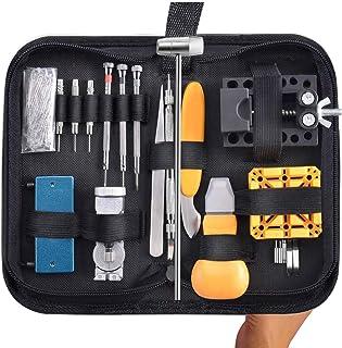 TOOGOO 168 Pieces Kit d'outils de Reparation de Montres Ouvreur de Montre Professionnel Outil de Barre a Ressort Bande de ...