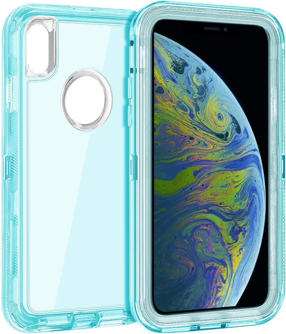 Coolden Hybrid Clear Phone Case for iPhone Xs MAX 6.5 Inches, Heavy Duty Protective Dual Layer Shockproof Case with Hard PC Bumper Soft TPU Back for 2018 Release Apple iPhone Xs MAX, Transparent Blue