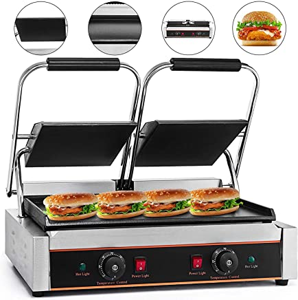 Mophorn Sandwich Press Grill Panini Maker and Grill Commercial Panini Grill Durable Stainless Steel Construction with Adjustable Temperature Control Cooking Non Stick Surface (LD-813E)