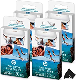 $40 » HeroFiber 4 Pack HP Sprocket Photo Paper, 80 Sticky-Backed Sheets Total, Exclusively for HP Sprocket Portable Photo Printer, (2x3 inch) + Herofiber Microfiber Cloth