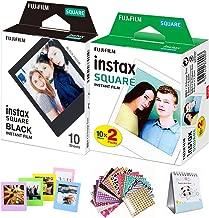 FujiFilm Instax Square Instant Film 20 Photo Sheets White + 10 Sheets Black Edge Include Border Stickers (Square)/Coloful Frame/Desktop Album - Compatible with FujiFilm Instax Square SQ6, SQ10 and SQ