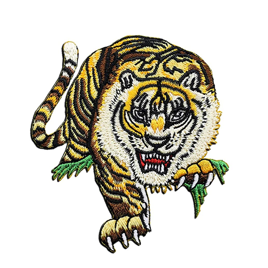 2Pcs Embroidered Tiger Patch, Embroidery Patches, Iron On Patches, Sew On Applique Patch, Cool Patches for Men, Women, Kids