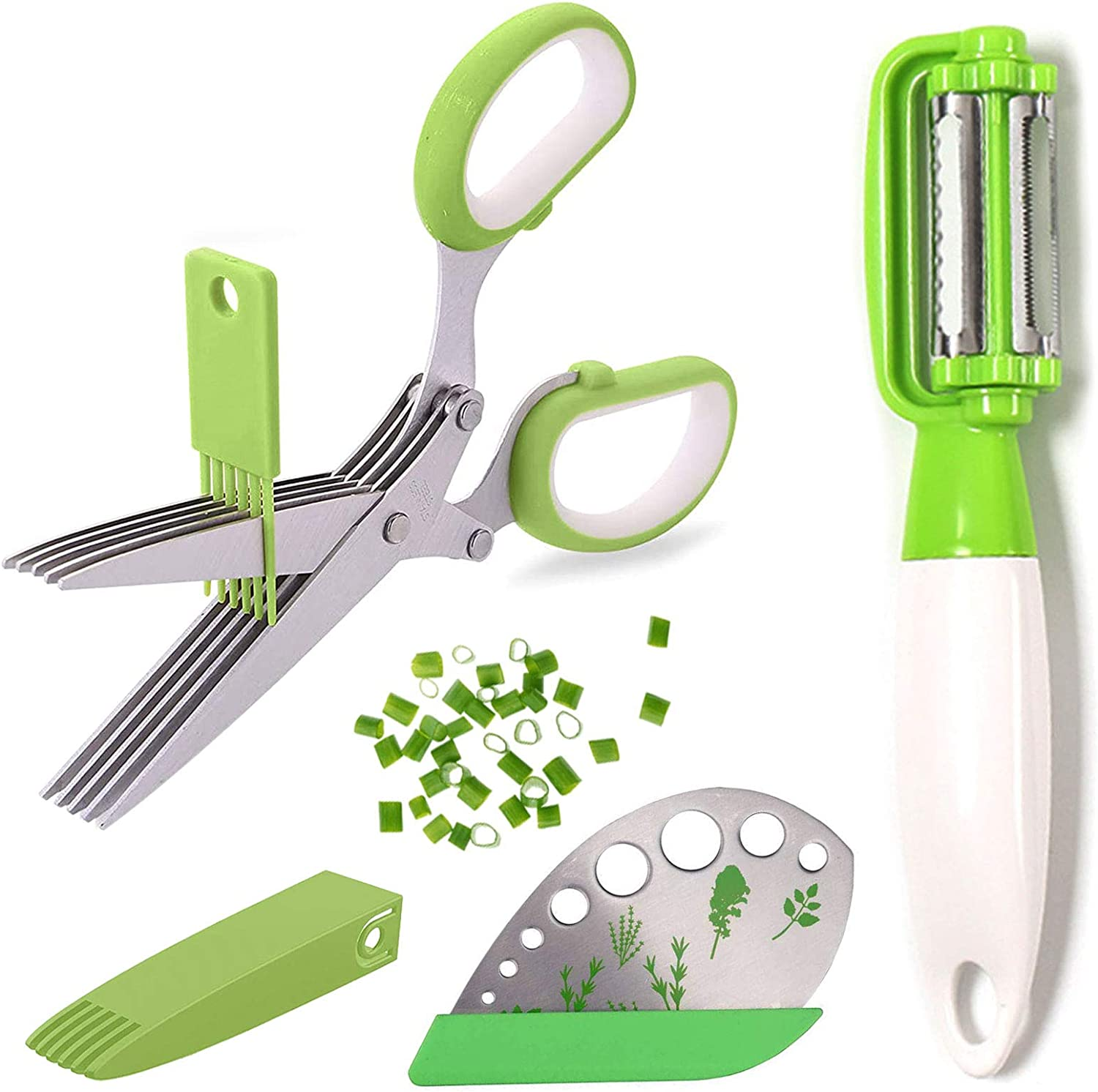 QLY Bombing free shipping Cilantro Mail order Scissors 5 Blade Gadgets Safe Cutter Cover Kitchen