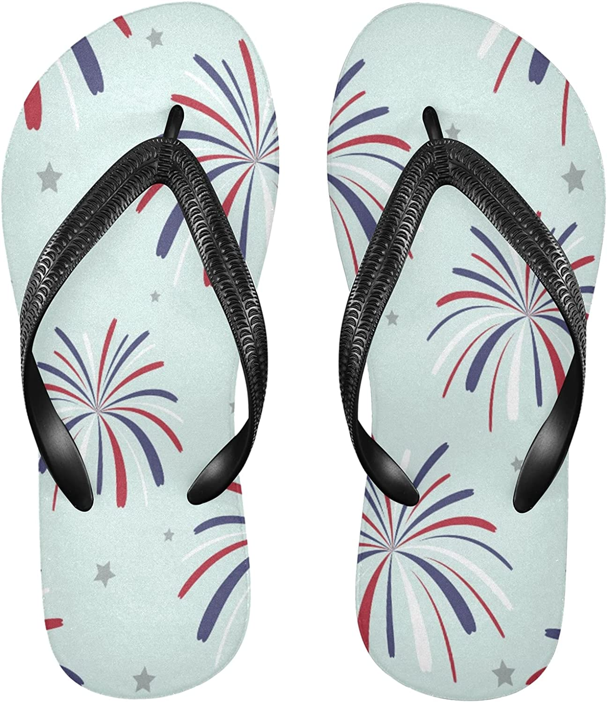 Nander Beautiful Fireworks Stars Women's Sandal Flip Flops Soft Comfortable Beach Slippers Unisex Adult Durable Flip Flops Shower Shoes