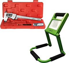 Digital Caliper, IP54 Stainless Steel, Plus Bright Rechargeable LED Work Light, Green