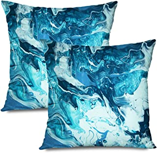 Ahawoso Set of 2 Throw Pillow Covers Square 18x18 Wave Wall Blue Tile Lapis Ceramic Marble Royal Nature Surface Material Architecture Paint Textures Zippered Pillowcases Home Decor Cushion Cases