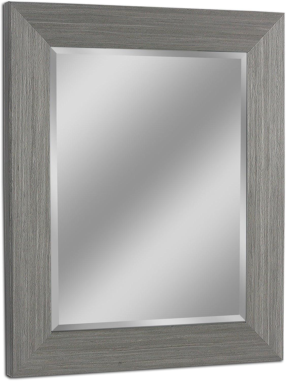 Headwest 8011 Rustic Box Driftwood Wall Mirror in Light Grey,