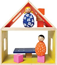 Manhattan Toy MIO Eating Place + 2 Bean Bag People Peg Dolls Imaginative Montessori Style STEM Learning Modular Wooden Building Playset for Boys and Girls 3 Years + Up